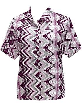 hawaiano botón de la camisa abajo blusas relajaron las mujeres fit manga corta campo de violeta