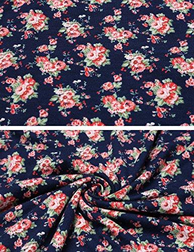 Zeagoo Damen Sommerkleider Jerseykleid Wickelkleid Vintage Blumen Kleid V-Ausschnitt Kurzarm Knielang (C)Blau