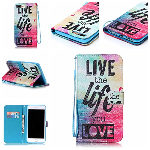 Custodia iphone 7 Plus, iphone 7 Plus Case, Cozy Hut ® Retro Colorful Drawing Art Painted Premium PU Leather Magnetic Flip Wallet Cover with Detachable Hand Lanyard & Card Slots & Stand Function for A io amo la vita