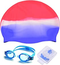 Stvin High Quality Silicone Material Swimming Cap Goggles Ear Plug Combo for Man and Women