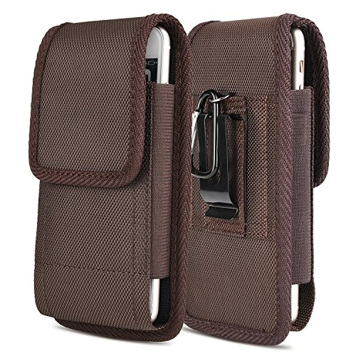 iNNEXT iPhone 7 Plus Vertikal Gürtel Tasche, Gürteltasche Card Halter Gürtelclip vertikal Halter aus Leder,der Fall für iPhone 6 Plus/Galaxy S8 Plus (Braun) - Leder Vertikal Case 6 Iphone
