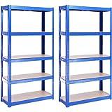 Rangement Garage: 150 cm x 75 cm x 30 cm | Deux unités, Bleu - 5 Niveaux | 175 kg par tablette (Capacité Totale de 875 kg) |