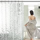 Mture Wasserdichter Duschvorhan, Duschvorhang Anti-Schimmel Badezimmer Vorhang, Transluzent mit 3D Kieselsteine Muster Antibakteriell Badvorhang (180 x 200 cm)