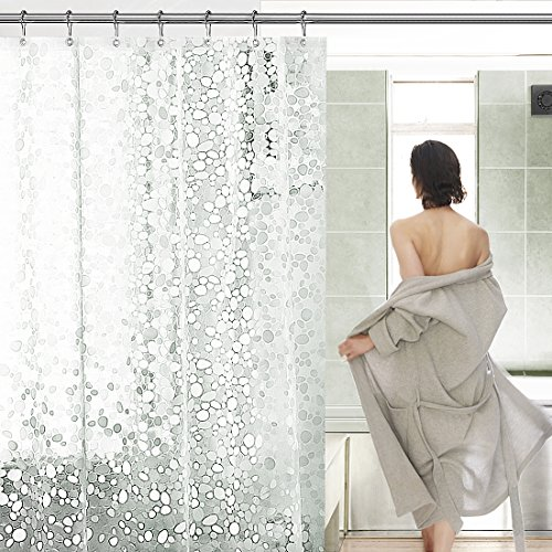Mture Duschvorhang Anti-Schimmel, Wasserdichter Duschvorhang mit 3D-Rundschriften Badezimmer Vorhang mit 12 Duschvorhangringe, Transluzent 180 x 180 cm