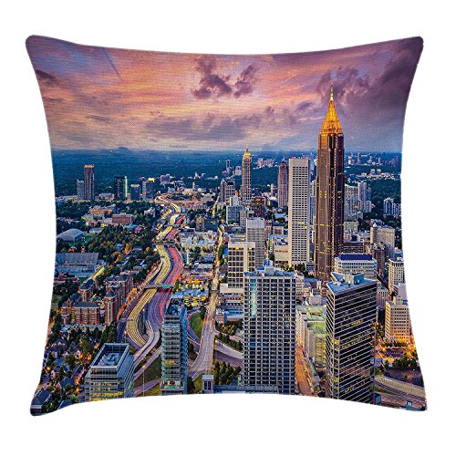 Modern Throw Pillow Cushion Cover, Atlanta City Skyline at Sunset with Hazy Light Georgia Town...