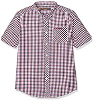 Ben Sherman Boy's House Check Poplin Shirt, Red (Deep Red), 14-15 Years