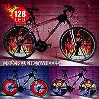 Led Roue de vélo Lumière étanche DIY lumière Pneu de vélo programmable Spoke lumières avec piles coloré Pneu de vélo Accessoires pour enfants adultes de roue à LED pour roue de vélo 66cm