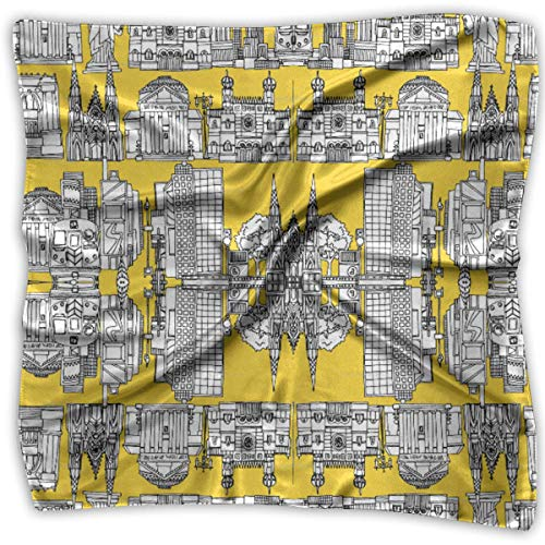 Square Satin Headscarf New York Yellow Silk Like Lightweight Hair Wrapping Neck Square Scarfs L