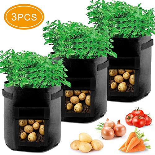 Potato Grow Bags,3 Pack Planting Potato Grow Pots,7 Gallon Vegetable Planter Container with Velcro Window/Handles/Flap for Various Vegetables.(Black)