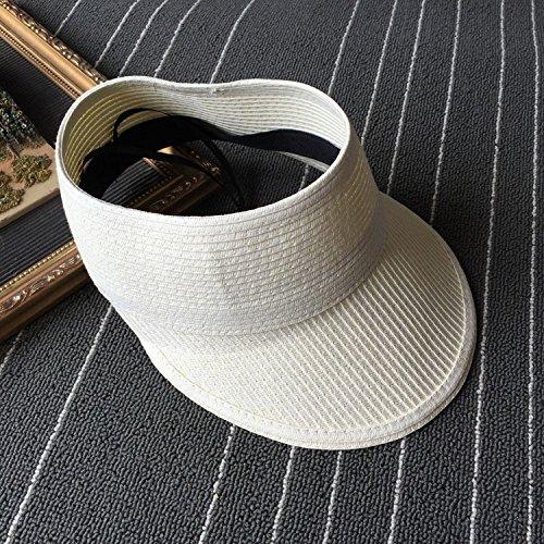 Svuotare la parte superiore del cappello per il sole femmina tende pieghevoli cappello di paglia estate leisure resort grande ombrellone polpette cappello da baseball, m (56-58cm) crema