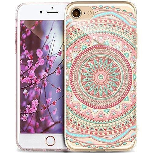 Coque iPhone 7 Plus Housse étui-Case Transparent Liquid Crystal Mandala en TPU Silicone Clair,Protection Ultra Mince Premium,Coque Prime pour iPhone 7 plus (2016)-style 7 style 8