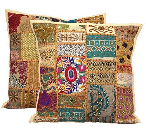 Handicraftsuk - Fundas de cojín, 2 unidades, diseño hindú, hechas a mano, clásicas, decorativas...