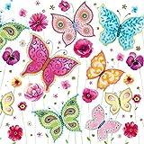 Maki - Servietten - SLOG 023601 - bunte Schmetterlinge und Blumen