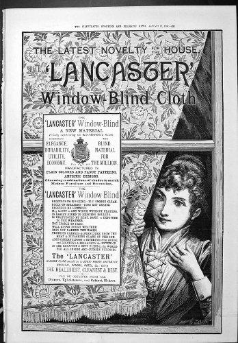 Stampa Antica di Sport della Finestra Drammatica 1887 di Lancaster della Pubblicità di Notizie B...