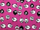 Schaf Print Baumwolle Kleid Stoff pink–Meterware