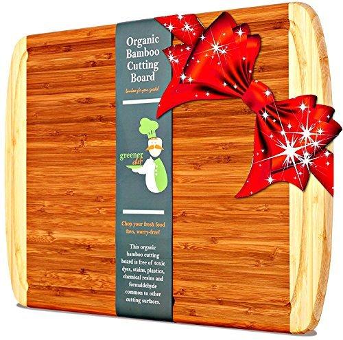 Greener Chef Extra Grande de bambú orgánico Tabla de Cortar con Corte New Crack-Prevención de Tecnología de la Madera Juntas para Cocina - Jugo de Groove para la Carne 18' x 12.5' XL Cutting Board