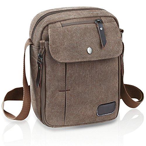 Everwell Umhängetaschen Herren Kleine Premium Canvas Vintage Messenger Bag Cross Body Tasche Herrentasche Casual Reisetasche Umhängetasche Schultertasche mit Vielen Fächern