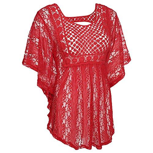 cooshional Damen Spitzen Blumen Netz Shirt Flügelärmel Sommer Tops Rückenfrei Stickerei Häkeln Rot