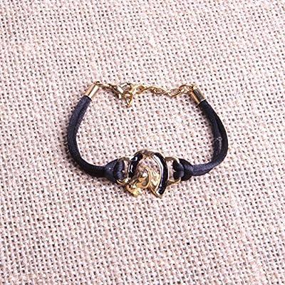 Bracelet fer à cheval bijou fantaisie équitation tète de cheval émail noir sur cordon coton satiné 100% made in France.