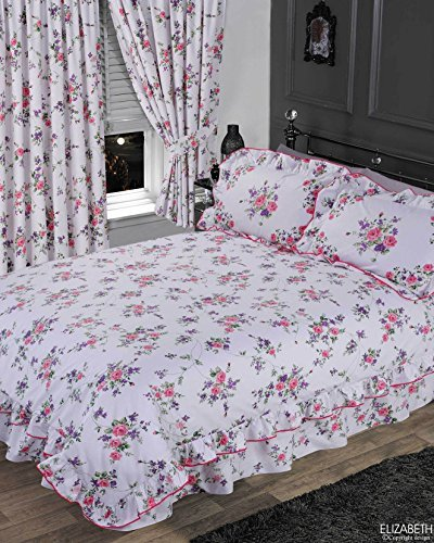 Elizabeth Purple, King Size Bed Duvet / Quilt Cover Set, BY THE CAMEO COLLECTION, Traditional Floral Frilled Bedding Set, Rose Flowers White Lilac Pink Green by The Cameo Collection