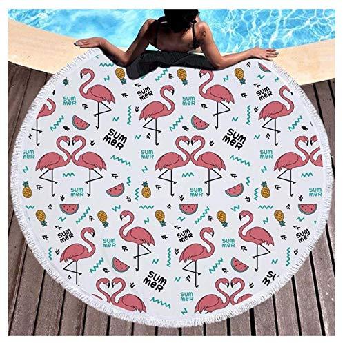 Vanzelu Mikrofaser Runde Badetuch Flamingos Blumendruck Dusche Badetücher Sommer Schwimmen Decke