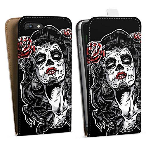 Apple iPhone X Silikon Hülle Case Schutzhülle Zombie Catrina Halloween Downflip Tasche weiß