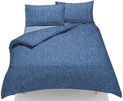 New Bettwäscheset, Bettbezug ~ Denim Jeans Stoff Print Effekt ~ Kissen Free ~ Weiche Polycotton Stuff Funky Bettwäsche Set ~ UK Größen, BLUE- DENIM, Einzelbett (Blue Kissen Denim)