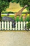 Aaloolaa Photography Backdrops Photo Background 3D Animals Zebra Giraffe Fence Tree Blurry Floors Boy Kid Girl Newborn Children Baby Portrait Zoo Scene Props for Video Shooting Studio 3x5ft Vinyl