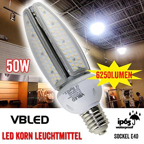 50W LED Korn HQL Ersatz Leuchtmittel Birne Lampe Leuchte Corn Bulb Fassung E40, IP65, 6250lm, 4500k neutralweiß, weiß, Indoor, Outdoor