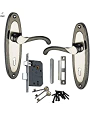 Atom Mortice Door Handle Set Black Silver Finish With Double Stage Lock 3 Keys
