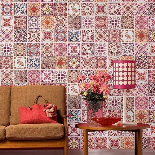 WALPLUS ADESIVI DA PARETE RIMOVIBILE autoadesivo arte murale decalcomania vinile DECORAZIONE CASA fai-da-te VIVENTE cucina camera letto carta parati regalo marocchino rosso rosa MOSAICO PIASTRELLA -
