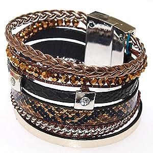 Bracelet Strass Wrap Manchette Cuir Fermeture Magnétique Style Brésilien - Multirangs 6 Bandes - MARRON de SEA SEX AND SUN FR