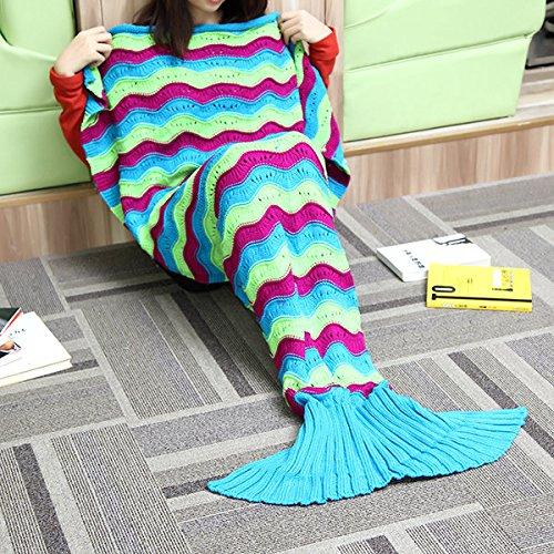 Bazaar 180x 90cm drei Fäden von Farbe Band Strick-Queue Meerjungfrau Decke Tasche Super Schlaf Warm Kofferraumwanne, Daunendecken