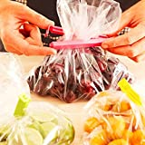 #9: HOMIZE™ Plastic Food Snack Bag Pouch Clip Sealer for Keeping Food Fresh for Home Kitchen Camping, Multi Color, Large, 6 Piece Set
