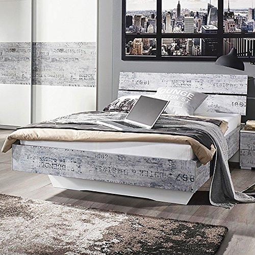 Jugendbett 160*200 cm weiß / grau vintage Jugendliege Kinderbett Bettliege Bett Bettgestell Gästezimmer Jugendzimmer Kinderzimmer