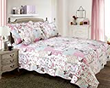 One Quilted Shabby Chic Vintage Birds Boutique Pillowsham Matches Bedspread / Comforter Throw Multi