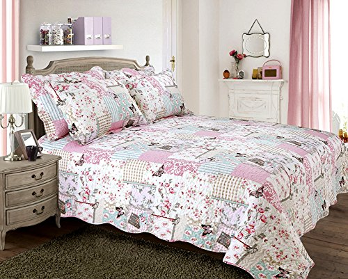 one-quilted-shabby-chic-vintage-birds-boutique-pillowsham-matches-bedspread-comforter-throw-multi