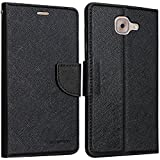Kimobh New Luxury Mercury Wallet Card Dairy Slot Style Flip Case Cover For Samsung Galaxy J7 Max (Black Black)