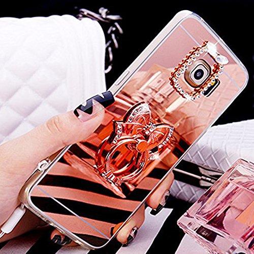 Custodia Cover per Samsung Galaxy A5 2017, Ukayfe Cover Specchio Lusso Placcatura Lucido di Cristallo di Scintillio Strass Diamante Glitter Caso per iPhone 7 Plus[Crystal TPU] [Shock-Absorption] Prote Arco Oro rosa 4#