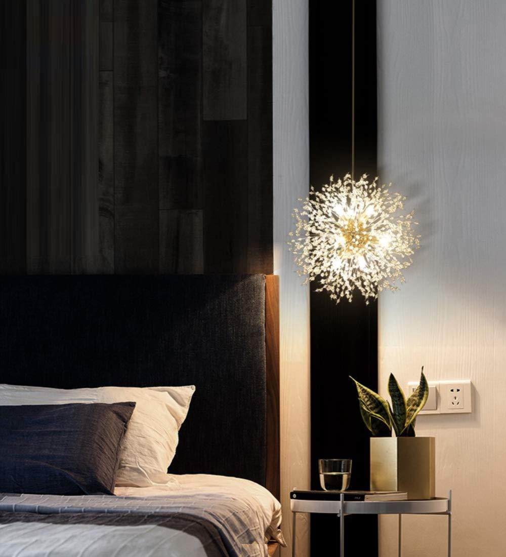 Dellemade Sputnik – Lussuoso lampadario a sospensione dorato, a 8 luci, per camera da letto, soggiorno, sala da pranzo