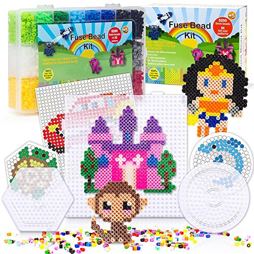 BIEE 5200 Sicherung Bead Set für Kinder 5mm 22 Farben 60 Full Size Patterns 3 Pegboards Bügelpapier Aufbewahrungskoffer Perler Perlen Kompatibel Kit