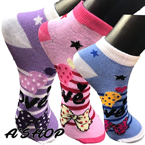 A'SHOP Super Summer Soft Multi-Coloured Socks with Colourful Stripes, Hearts Bows All Over The Ankle Length Socks for Girls, Boys & Women for Daily use(Set of 3 Pairs)