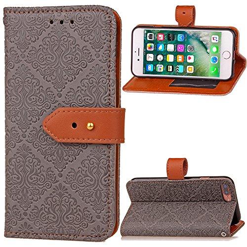 COZY HUT iPhone 7 Plus Hülle Handyhülle iPhone 8 Plus [Premium Leder] [Standfunktion] [Kartenfach] [Magnetverschluss] Schlanke Leder Brieftasche für iPhone 7 Plus/iPhone 8 Plus - grau