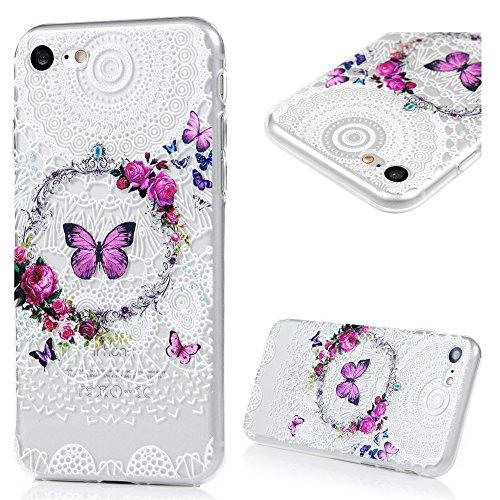 iPhone 7 (4.7 Pollici) Custodia Protettiva TPU , Badalink Slim Anti Scivolo, Graffi e Polvere Phone Case Variopinto (Farfalle e Corona)