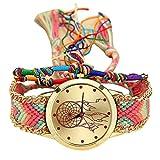 Relojes Pulsera Mujer, K-youth Mujeres Dama Retro Atrapasueños Patrón Cuerda Tejida Pulsera Cuarzo Reloj Relojes de pulsera Relojes de mujer Baratos y bonitos (2#)
