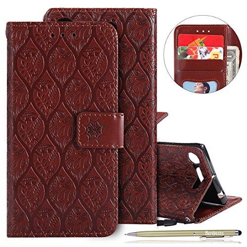 Kompatibel mit Handytasche Sony Xperia XZ1 Handyhülle Prägung Blumen Muster Luxus Klapphülle Bookstyle Flip Cover Tasche Wallet Case Ledertasche Leder Hülle Handy Schutzhülle,Braun