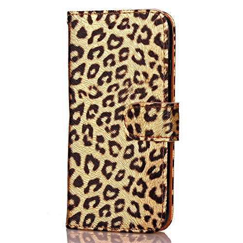 EKINHUI Case Cover Für Apple IPhone 6 6s plus Fall-Abdeckung, Leopard-Muster-Schlag-Standplatz PU-lederner Kasten mit Halter u. Mappen-Karte Bargeld-Schlitze u. Foto-Rahmen ( Color : Gold , Edition :  Gold