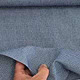kawenSTOFFE Karierter Baumwollstoff Jeansblau Minikaro 1mm