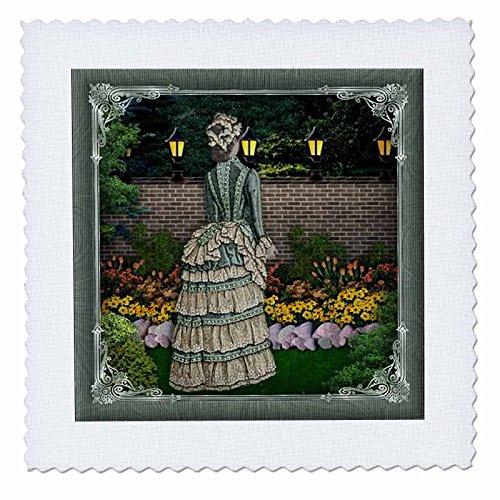 3drose Victorian Lady im Garten mit Lampe Polen beleuchtet und Pretty Rahmen, Quilt, Platz, 12von 30,5cm (QS _ 167137_ 4)