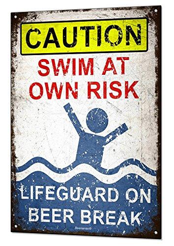 eak Large Metal Tin Sign Plaque Funny Pool Beach Bar Swimming Blechschilder ()